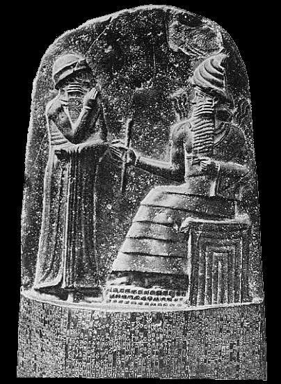 Escritura em pedra do Código de Hamurabi - Imagem: Wikipedia